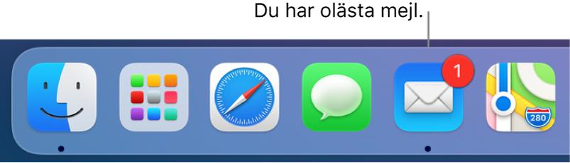Ett område av Dock som visar symbolen för appen Mail med en bricka som anger antalet olästa mejl.