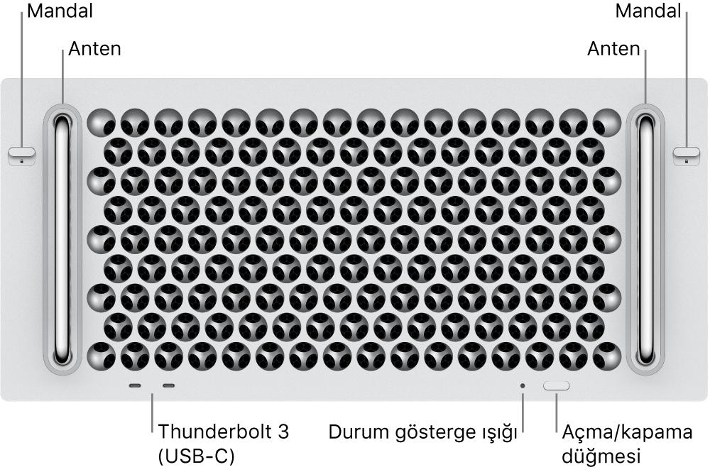 Mac Pro'nun önden görünümü; iki Thunderbolt 3 (USB-C) kapısı, sistem göstergesi ışığı, güç, düğme ve anten gösteriliyor.