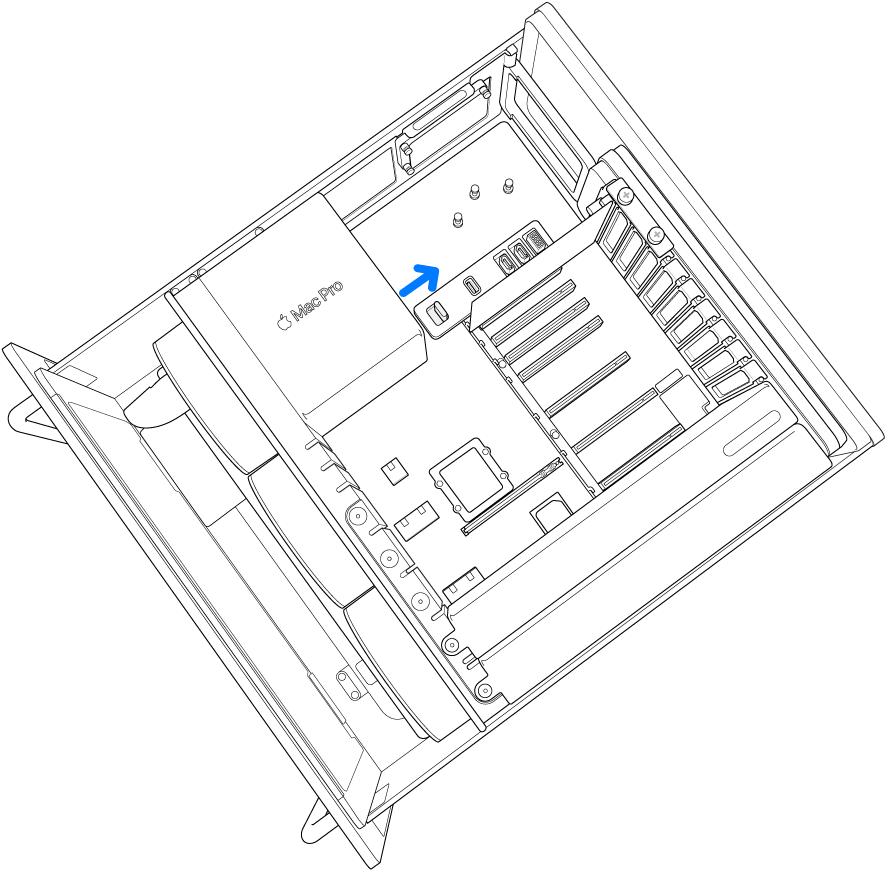 Посування утримувального фіксатора PCI праворуч.
