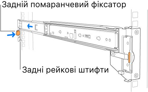 Зображення задніх рейкових штифтів і фіксатора на рейковій збірці.