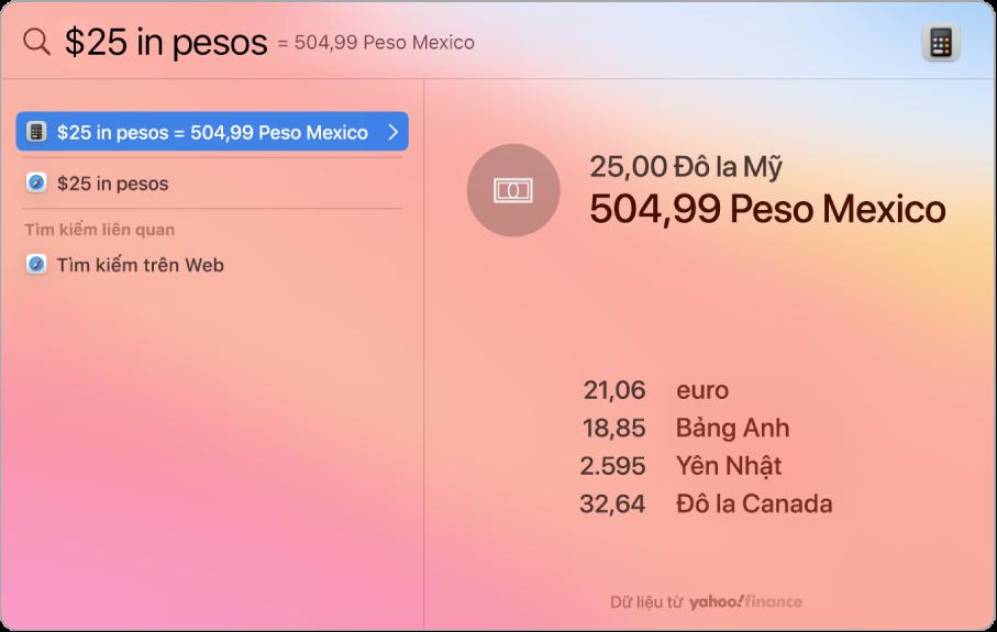 Một màn hình nền đang hiển thị đô-la được chuyển đổi sang peso với một kết quả phù hợp nhất đang hiển thị phép chuyển đổi và một vài kết quả có thể lựa chọn khác.