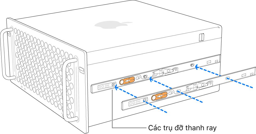 Mac Pro với thanh ray bên trong đang được gắn vào sườn.