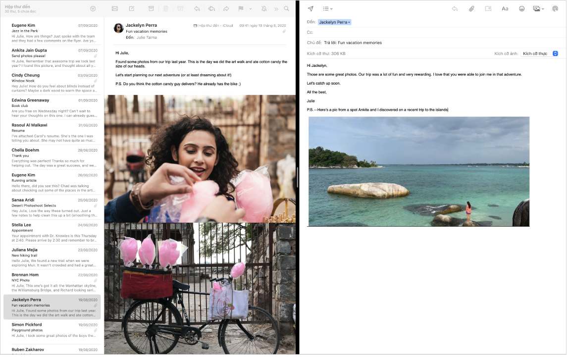 Một cửa sổ Mail ở màn hình được chia, đang hiển thị hai thư cạnh nhau.