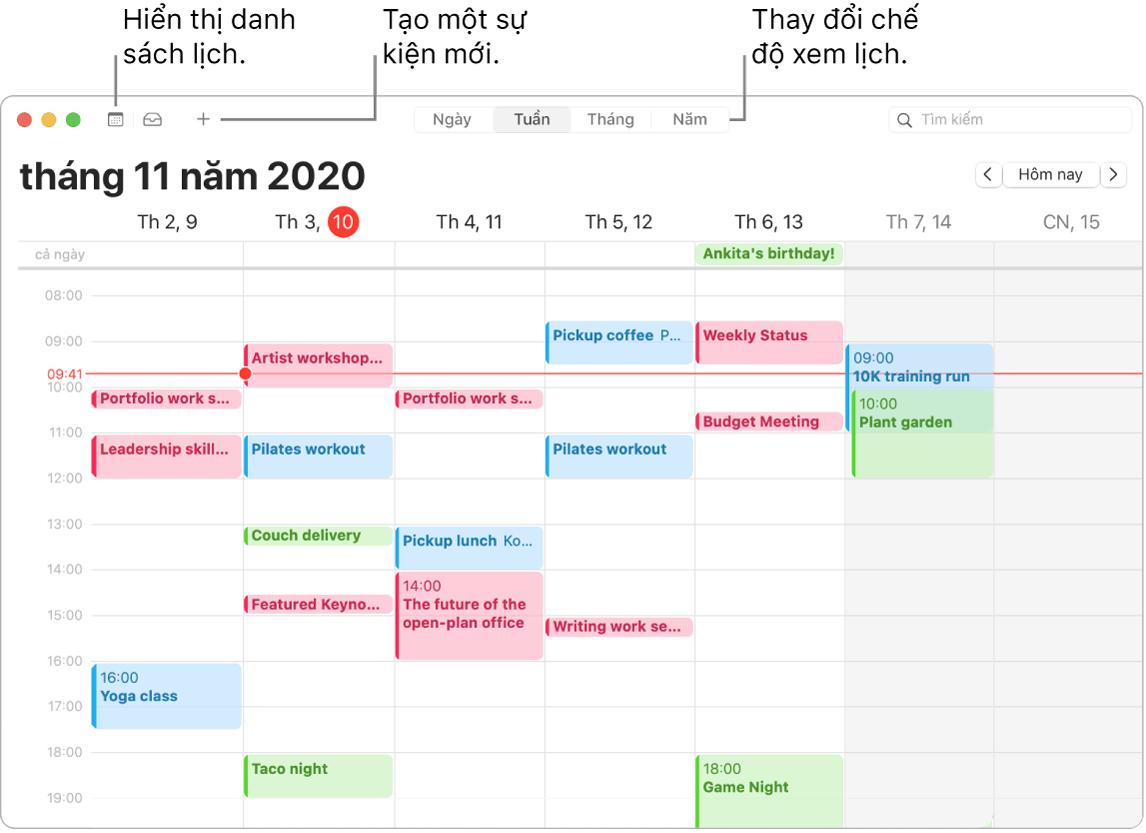 Một cửa sổ Lịch đang minh họa cách tạo một sự kiện, hiển thị danh sách lịch và chọn chế độ xem Ngày, Tuần, Tháng hoặc Năm.