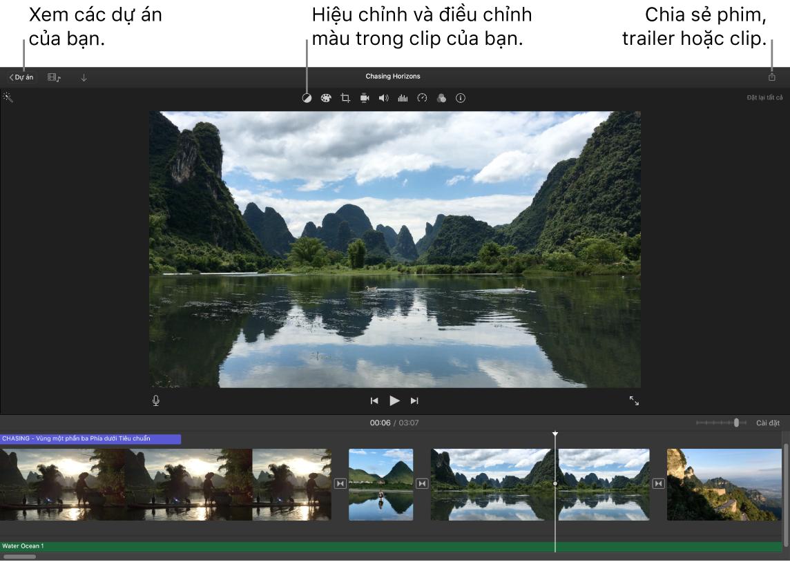 Một cửa sổ iMovie đang hiển thị các nút để xem dự án, hiệu chỉnh và điều chỉnh màu cũng như chia sẻ phim, trailer hoặc clip phim của bạn.