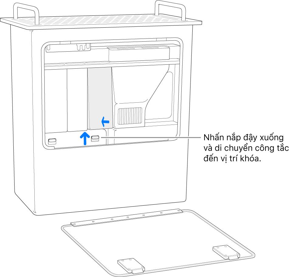 Mac Pro đang được đặt vào đúng vị trí, đang hiển thị cách di chuyển công tác DIMM đến vị trí được khóa.