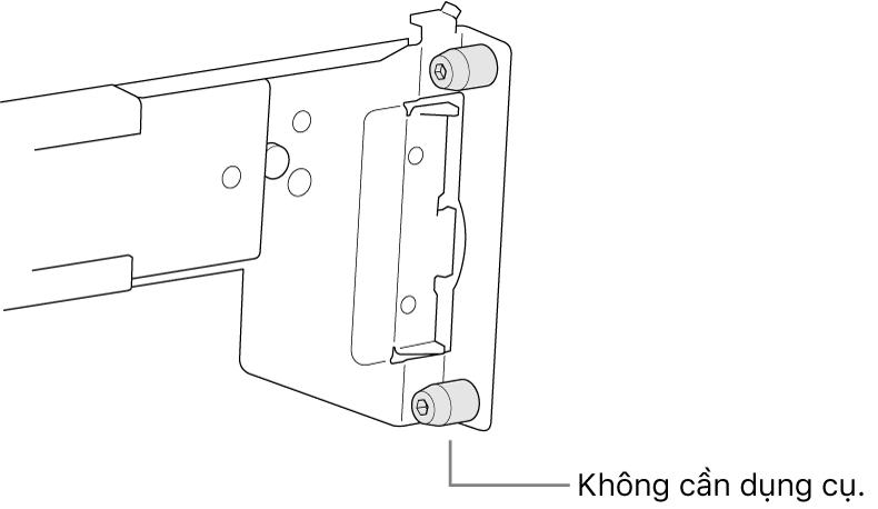 Một cụm thanh ray khớp với giá đỡ lỗ vuông.