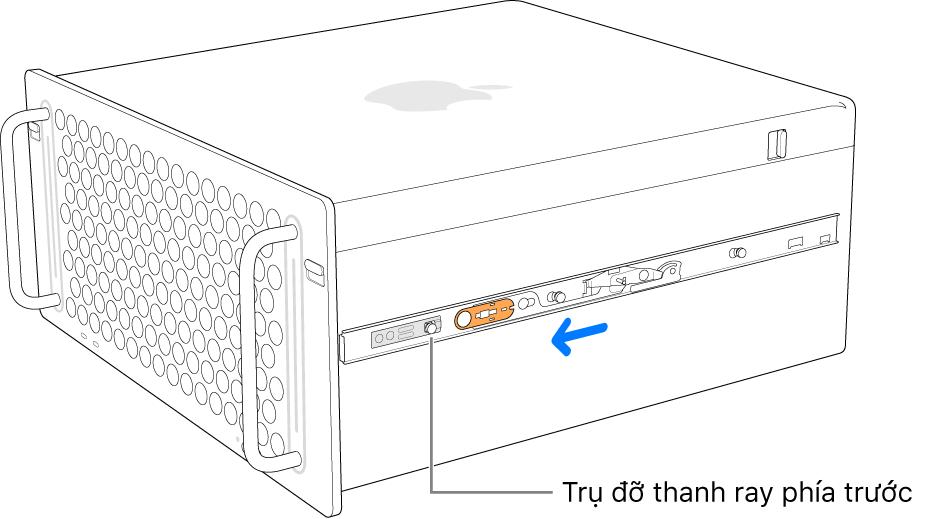 Mac Pro với thanh ray đang trượt về phía trước và khóa vào đúng vị trí.