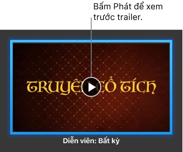 Màn hình trailer iMovie đang hiển thị nút Phát.