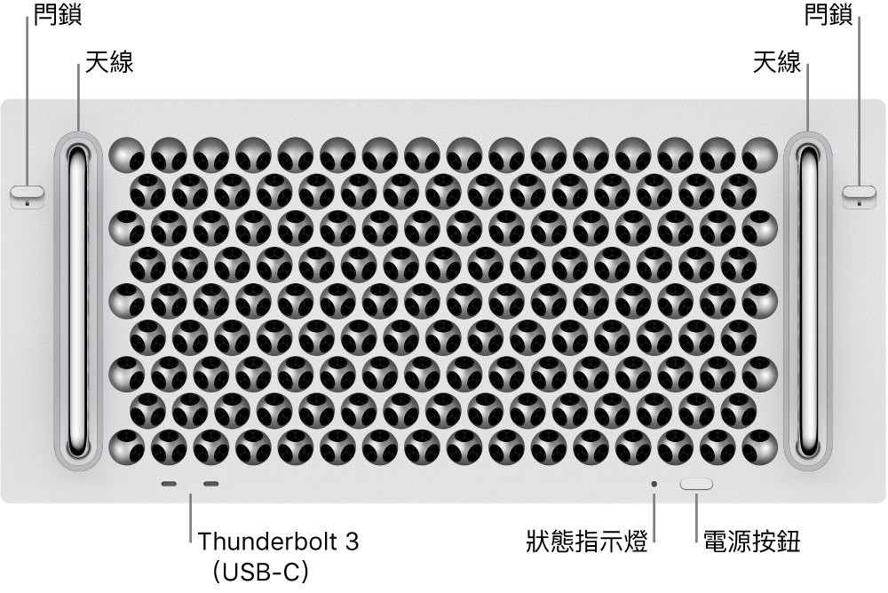 Mac Pro 正面顯示兩個 Thunderbolt 3(USB-C)埠、系統指示燈,電源按鈕和天線。