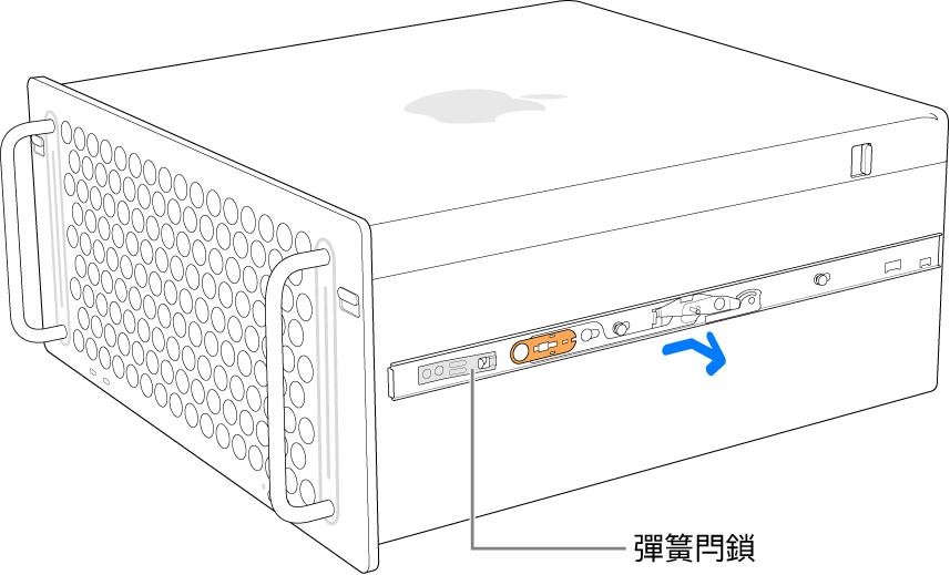 正在從 Mac Pro 的側邊分離的軌道。