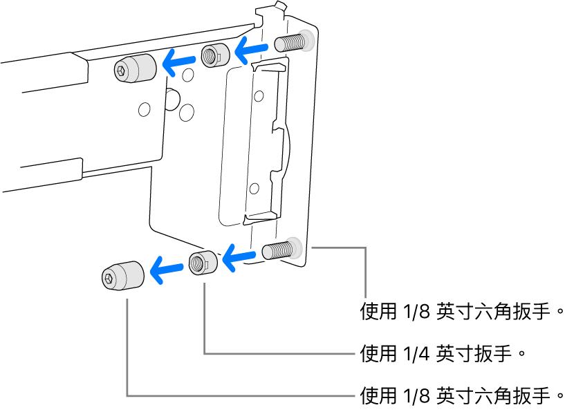軌道組件符合螺孔機架。