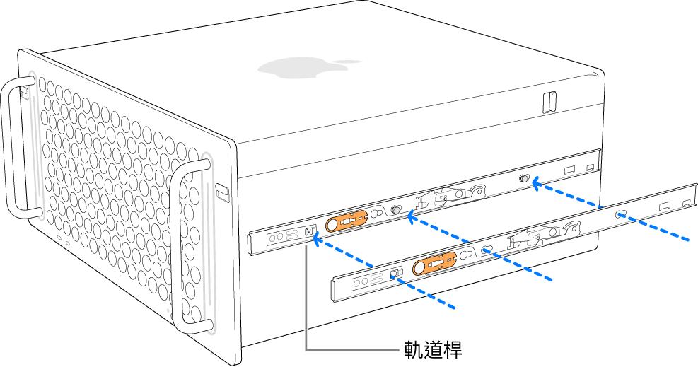 內部軌道已連接到其側邊的 Mac Pro。