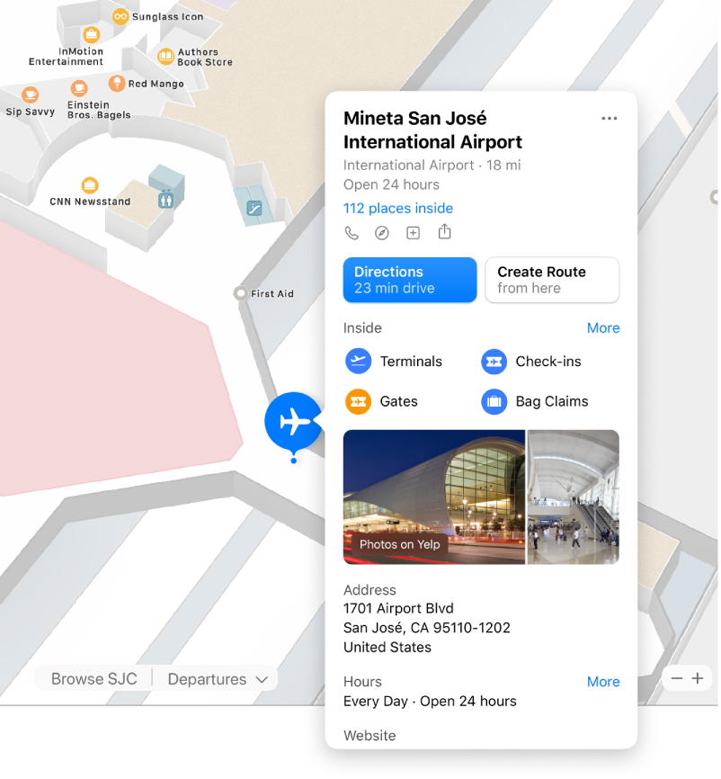 A map of the interior of an airport, along with info about the airport, including directions, restaurants, stores, and more.