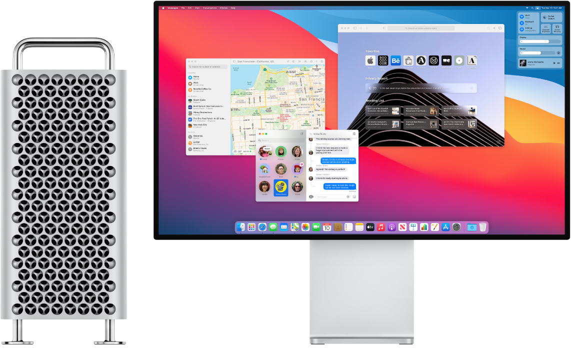 Mac Pro Tower and Pro Display XDR side by side.