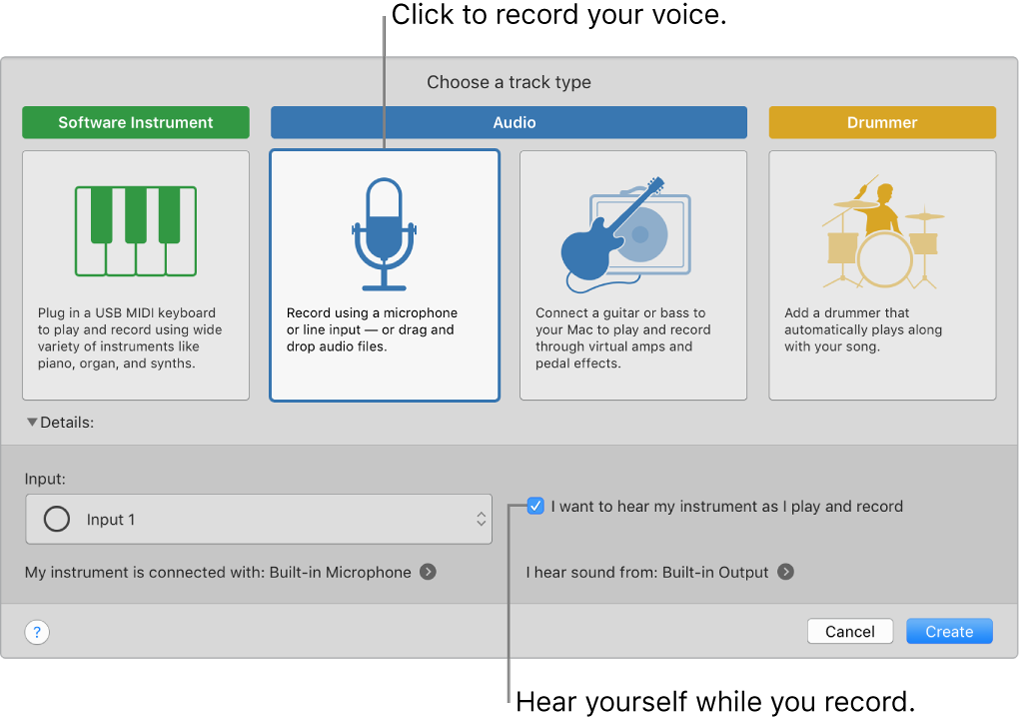 The GarageBand instrument panel showing where to click to record a voice and how to hear yourself when you record.
