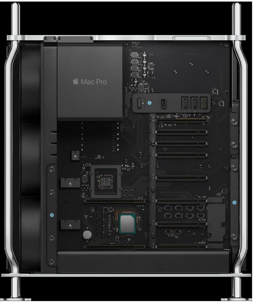 Internal view of Mac Pro tower.