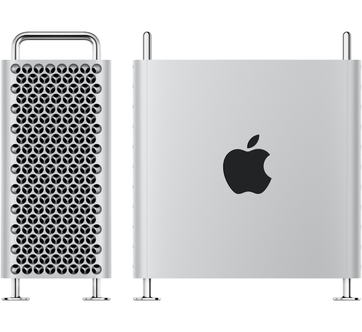 Two images of Mac Pro; one is an end view and one is a side view.