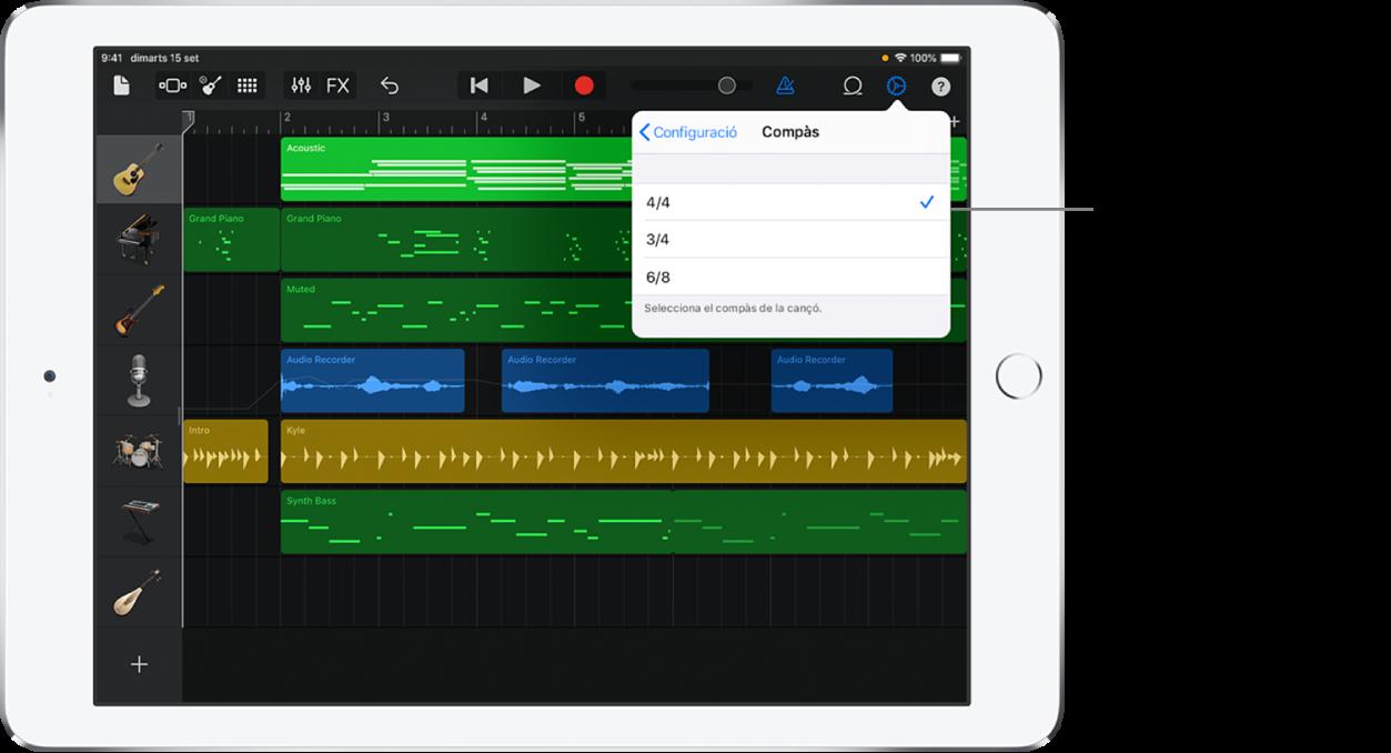 Configuració de cançó, inclosos els controls de compàs