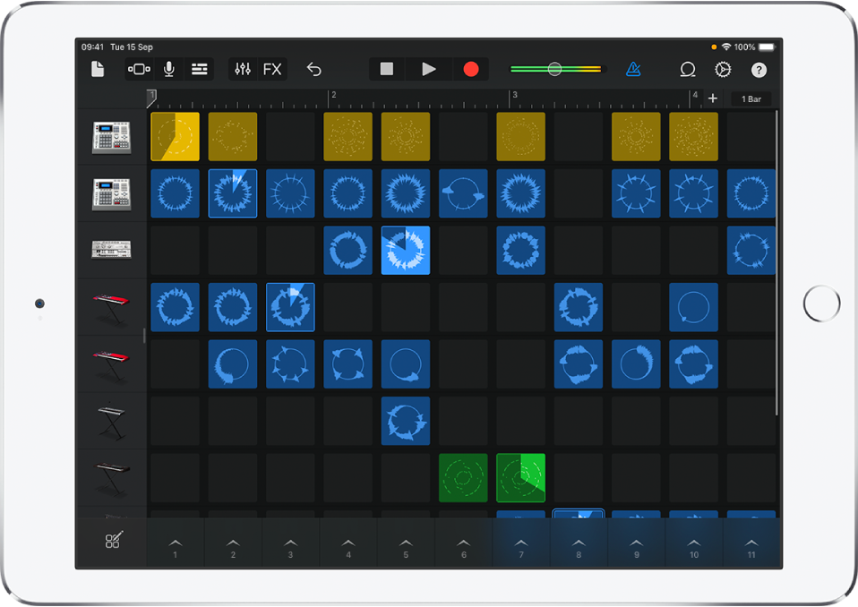 Figure. Live Loops grid with cells playing.