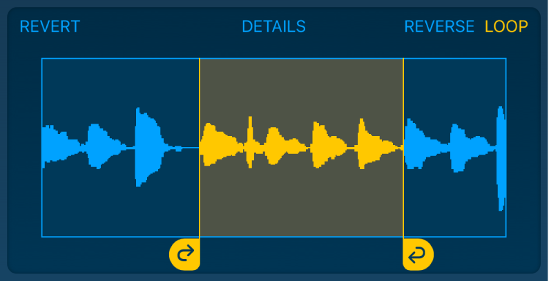 The audio between the left and right loop handles is looped.