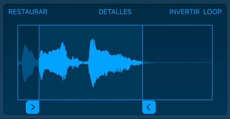 Arrastra las manijas azules para acortar el principio o el final del sample.