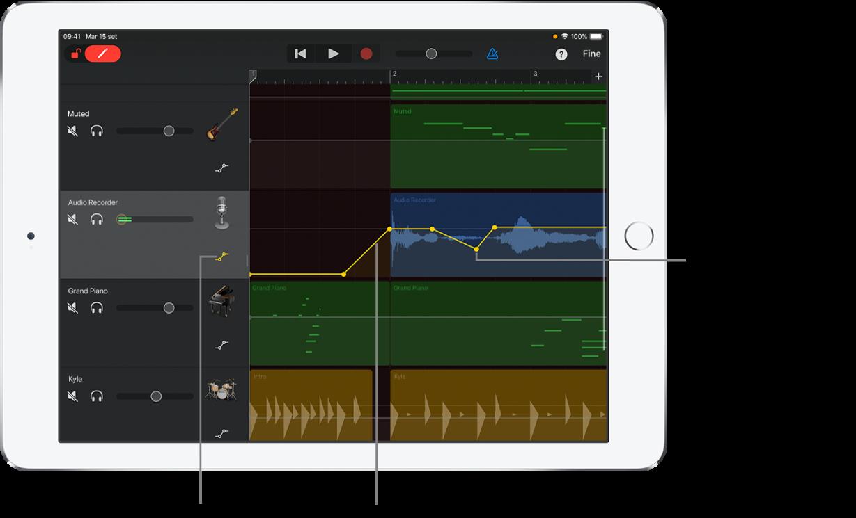 Figura. L'automazione delle tracce, che mostra le curve di automazione, i punti di automazione e il pulsante Escludi.