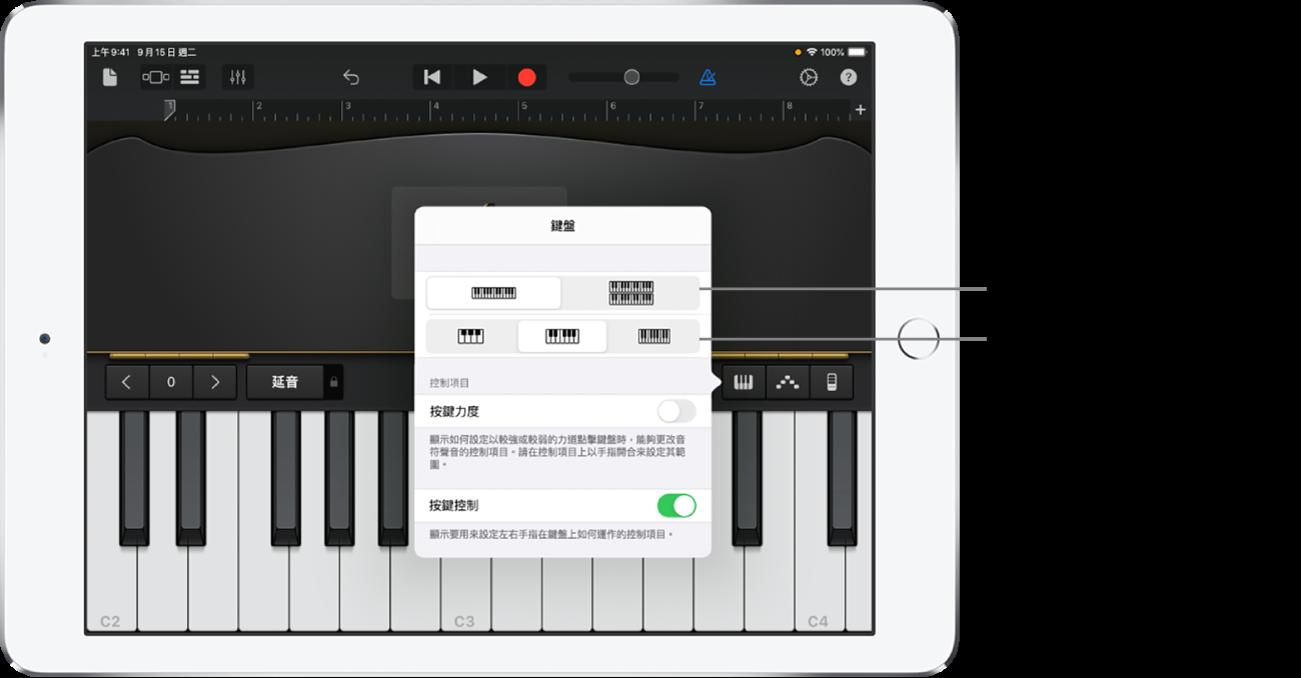 「鍵盤」佈局和大小控制項目