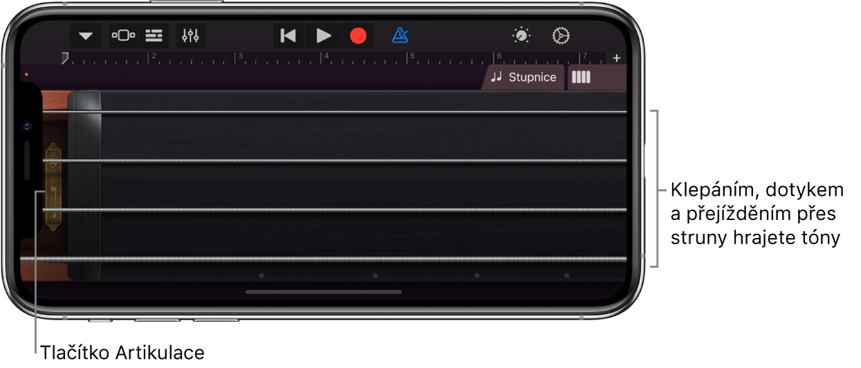 Zobrazení tónů na dotykovém nástroji Smyčce