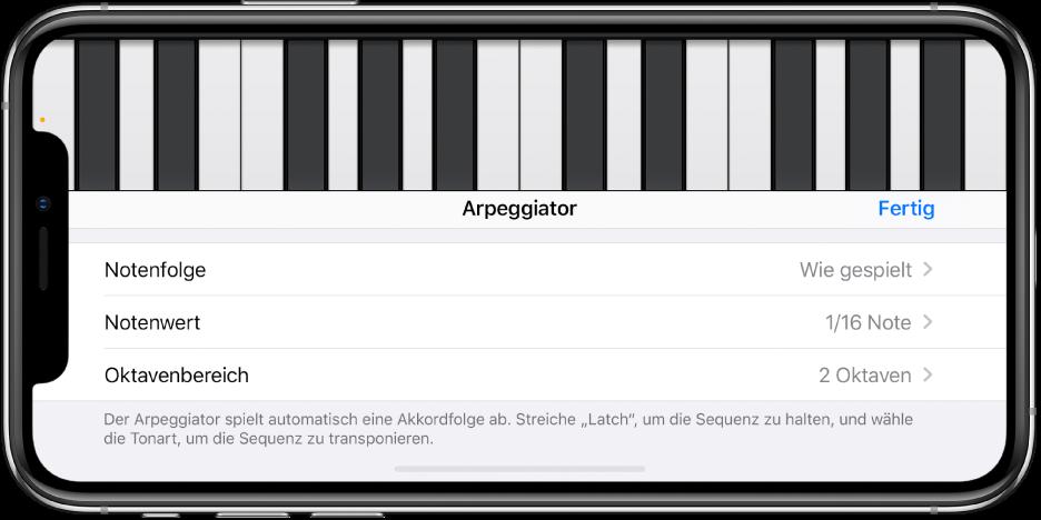 Arpeggiator-Steuerelemente des Keyboards