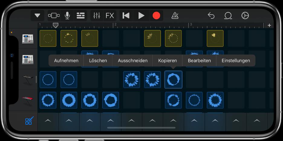 Abbildung. Live Loops-Raster mit aktivierter Zellenbearbeitung