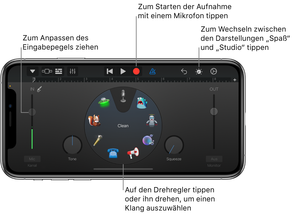 Touch-Instrument Audio-Recorder