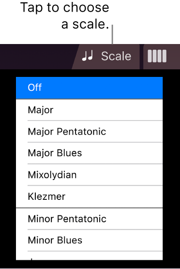 Strings Scale button and Scale list