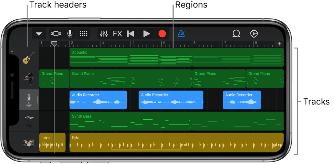 Tracks view, showing tracks, headers and regions