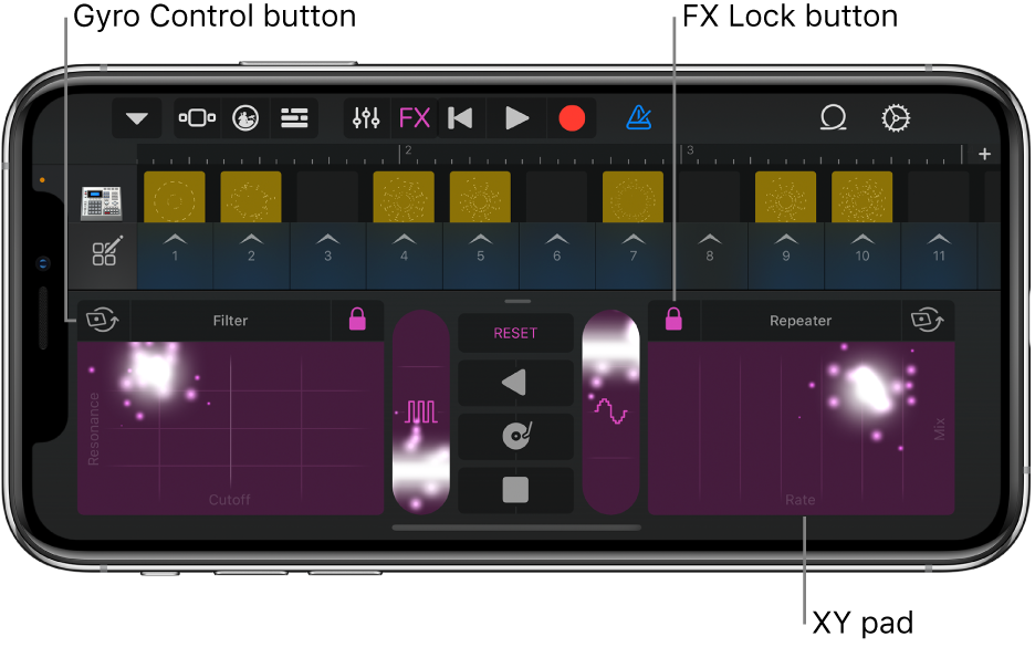 Figure. Live Loops grid showing Remix FX.