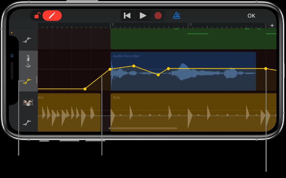 Illustration. Automatisation des pistes, courbes d'automatisation, points d'automatisation et le bouton Ignorer.