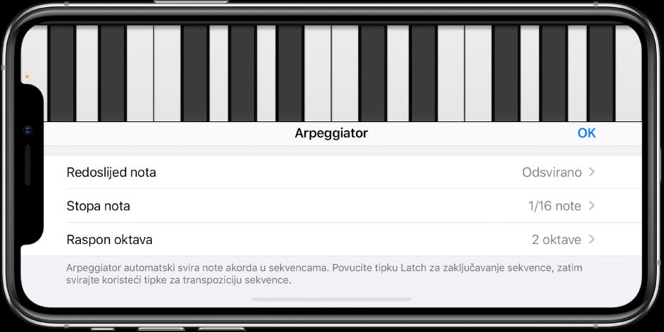 Kontrole Arpeggiator na Klavijaturi