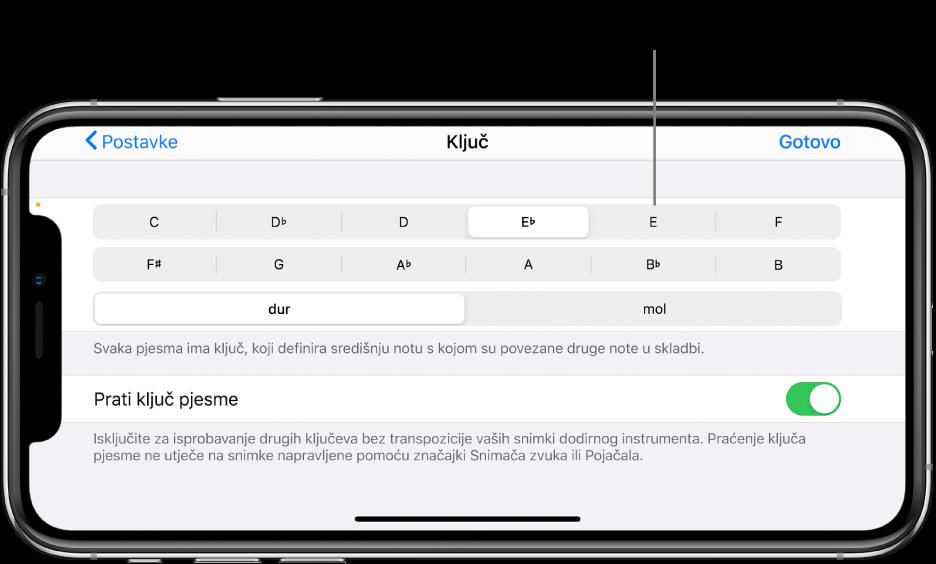 Kontrole tonaliteta u postavkama pjesme