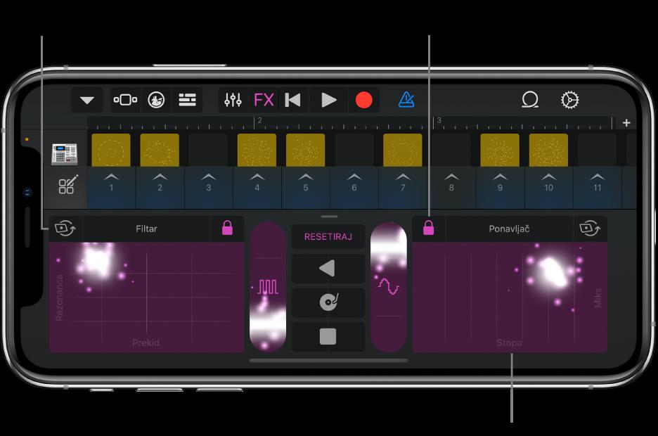 Slika. Live Loops rešetka koja prikazuje Remix FX.