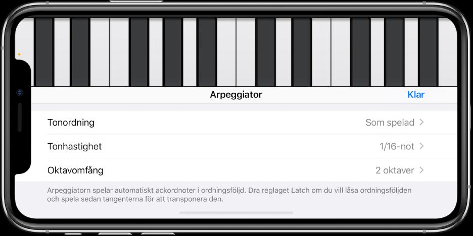 Reglage för klaviaturarpeggiatorn