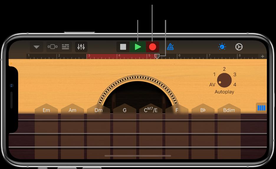 Inspelningsknapp och linjal med en inspelad region