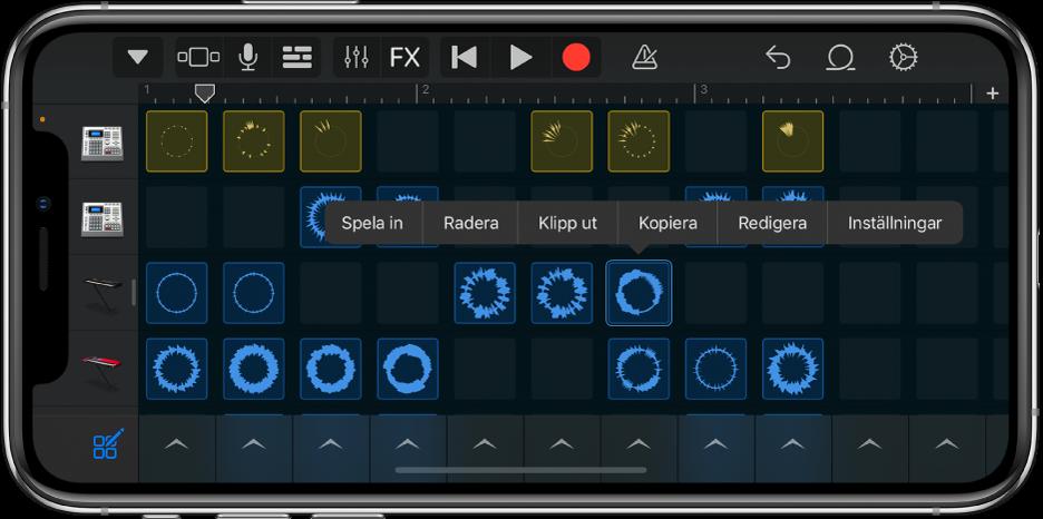 Bild. Live Loops-rutnätet med cellredigering påslaget.