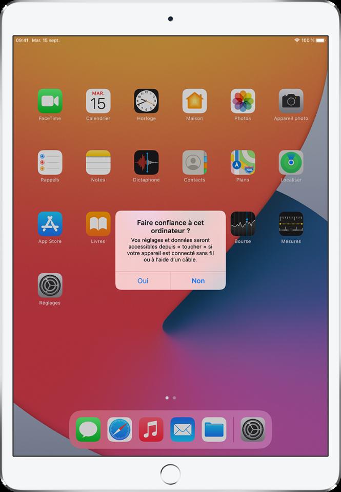 iPad affichant la zone de dialogue «Faire confiance à cet ordinateur» initiale.