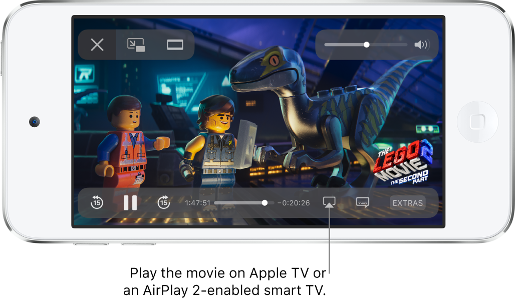 A movie playing on the iPod touch screen. At the bottom of the screen are the playback controls, including the Screen Mirroring button near the bottom right.