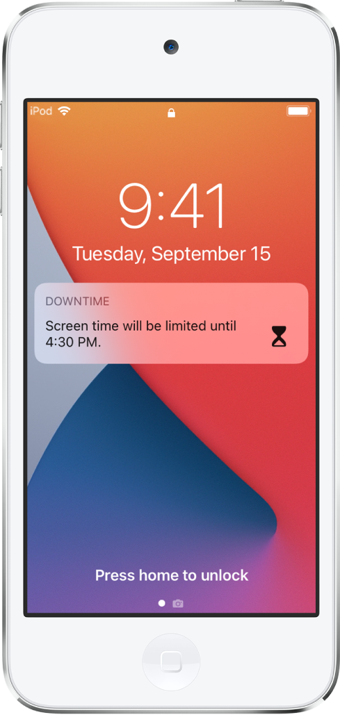 The iPod touch Lock Screen showing a Downtime notification that Screen time is limited until 4:30 p.m.