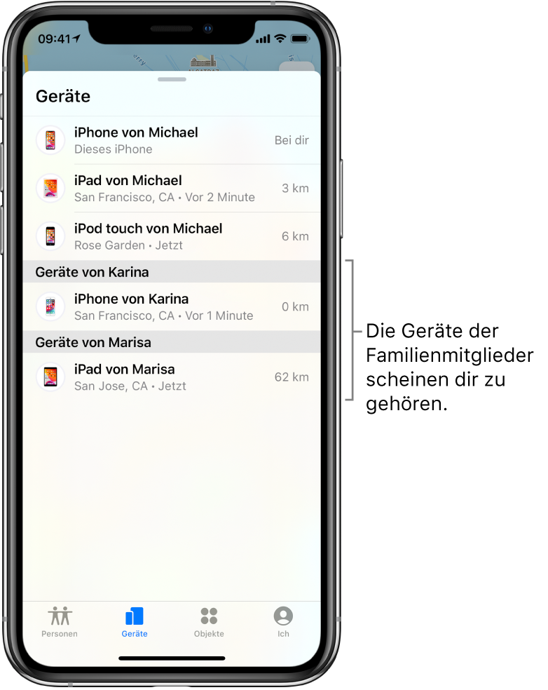 """Der Tab """"Geräte"""" in der App """"Wo ist?"""". Michaels Geräte werden oben in der Liste angezeigt. Darunter befinden sich Karinas iPhone und Marisas iPad."""
