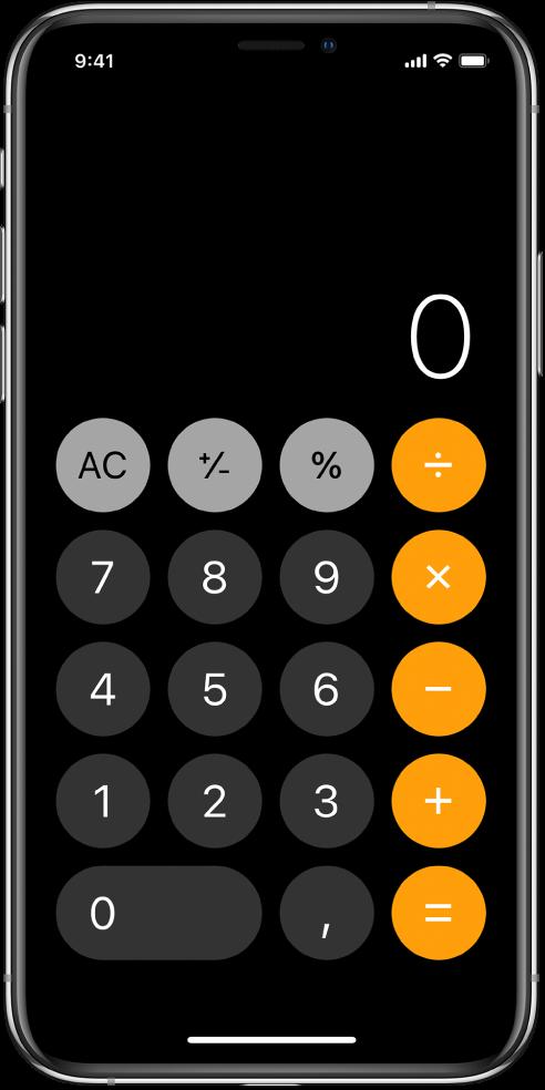 Η τυπική αριθμομηχανή με βασικές αριθμητικές συναρτήσεις.