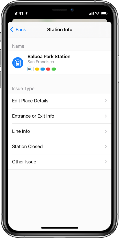 A screen for reporting incorrect information for a transit station. Issue types available to report are Edit Place Details, Entrance or Exit Info, Line Info, Station Closed, and Other Issue.
