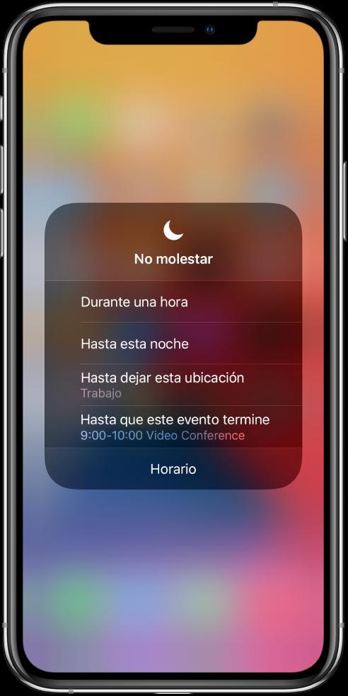 """La pantalla para elegir cuánto tiempo permanece activo el modo """"No molestar"""". Las opciones son """"1 hora"""", """"Hasta esta noche"""", """"Hasta dejar esta ubicación"""" y """"Hasta que este evento termine"""".»"""
