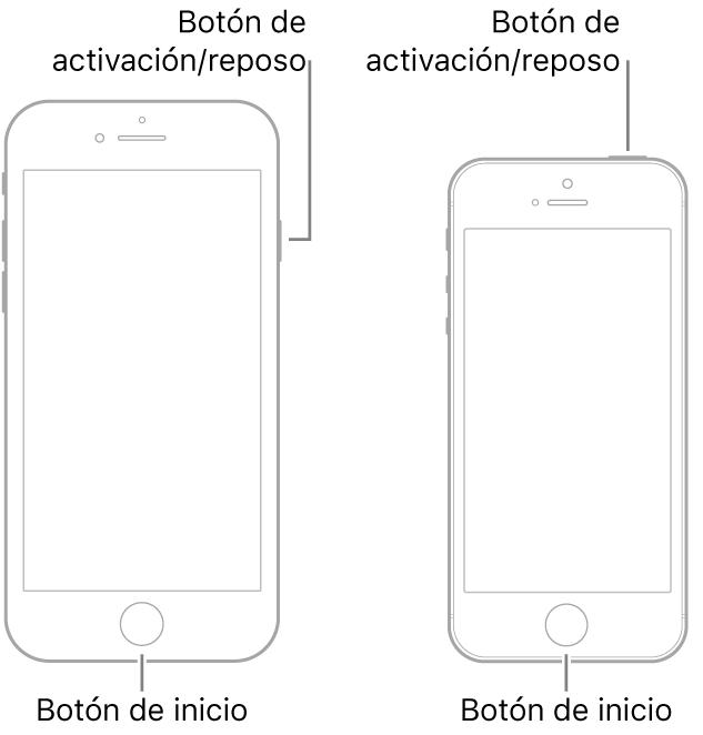 Ilustraciones de dos tipos de modelos de iPhone con la pantalla hacia arriba. Ambos tienen botones de inicio cerca de la parte inferior. El modelo de la izquierda tiene un botón de activación/reposo en el borde derecho del dispositivo cerca de la parte superior; mientras que el modelo de la derecha tiene un botón de activación/reposo en la parte superior del dispositivo, cerca del borde derecho.
